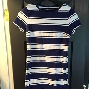 Old Navy Blue White Striped Dress Fitted